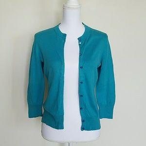 Teal J. Crew 3/4 sleeves cardigan